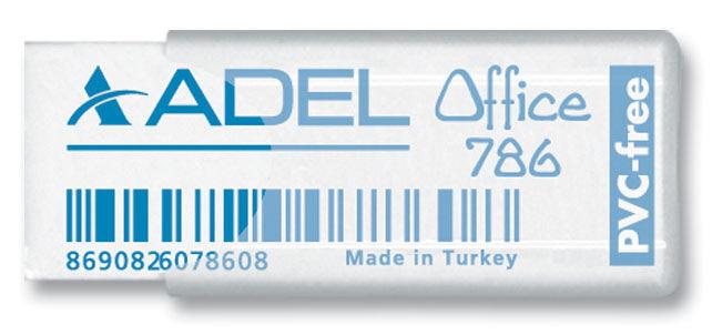 Ластик Adel OFFICE 227-0786-000 50x19.5x10мм каучук белый прозрачный пластик. чехол