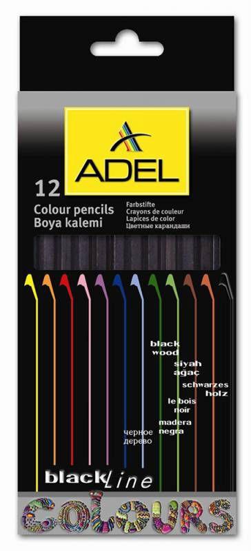 Карандаши цветные Adel BlacklineNB 211-2316-000 шестигран. черное дерево 3мм 12цв. коробка/европод.