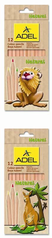 Карандаши цветные Adel Natural Colour 211-2319-000 шестигран. 3мм 12цв. натур. цвет корпуса коробка/