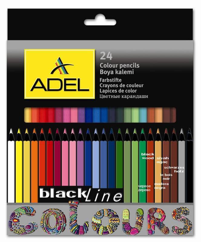 Карандаши цветные Adel BlacklinePB 211-2362-000 черное дерево 3мм 24цв. цветной корпус коробка/европ