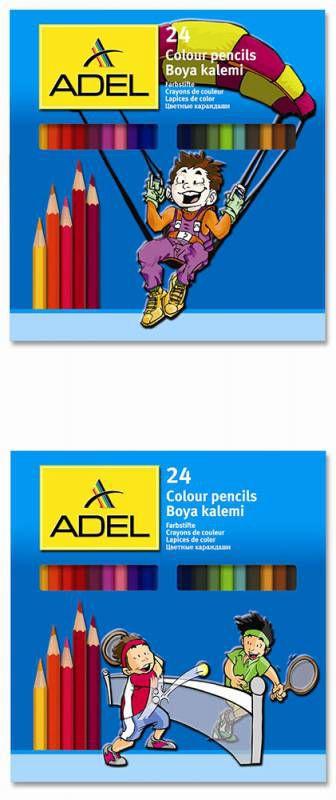 Карандаши цветные Adel Colour 211-2365- 000 3мм 24цв. коробка