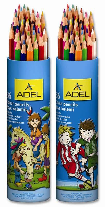 Карандаши цветные Adel Colour 211-2375-003 шестигран. 3мм 36цв. алюм.тубус