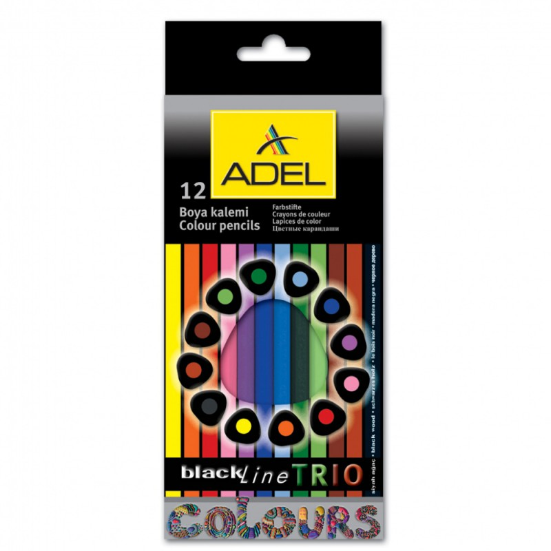 Карандаши цветные Adel Blackline TRIO 211-3312-000 трехгран. черное дерево 3мм 12цв. цветной корпус