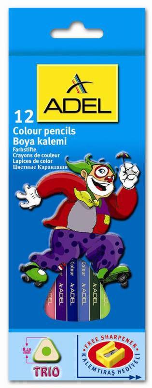 Карандаши цветные Adel Colour MIDI TRIO 211-3340-000 трехгран. 3мм 12цв. точилка коробка/европод.