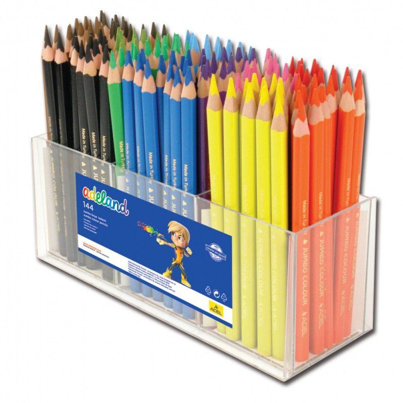 Карандаши цветные Adel ADELAND JUMBO 211-7510-100 трехгран. 5.4мм 12цв. дисплей пластиковый (144шт)