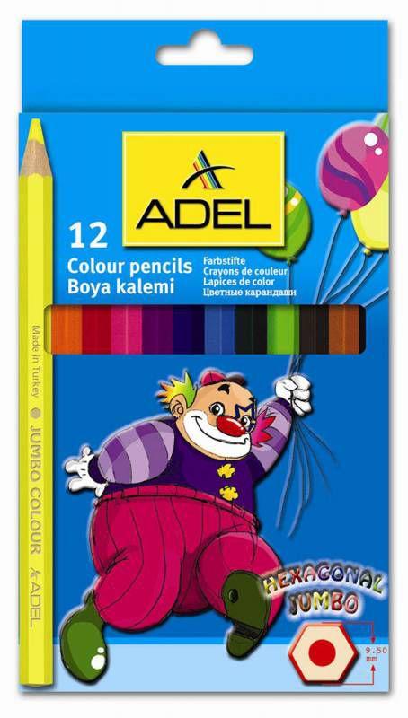 Карандаши цветные Adel JUMBO HEXA 211-9510-000 шестигран. 5.4мм 12цв. коробка/европод.