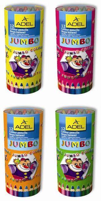 Карандаши цветные Adel JUMBO HEXA 211-9520-000 шестигран. 5.4мм 12цв. точилка карт.тубус