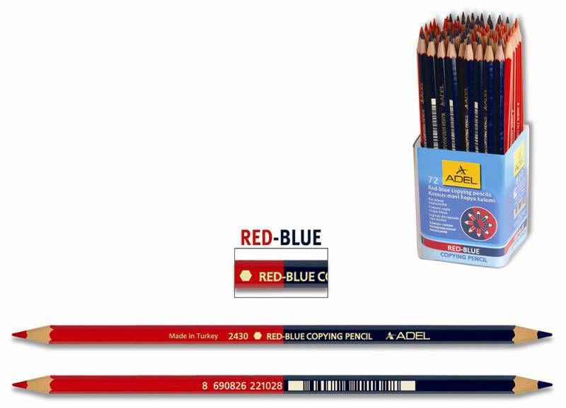 Карандаш двухцветный Adel Copying 213-2430-004 красный/синий специальный несмываемый грифель