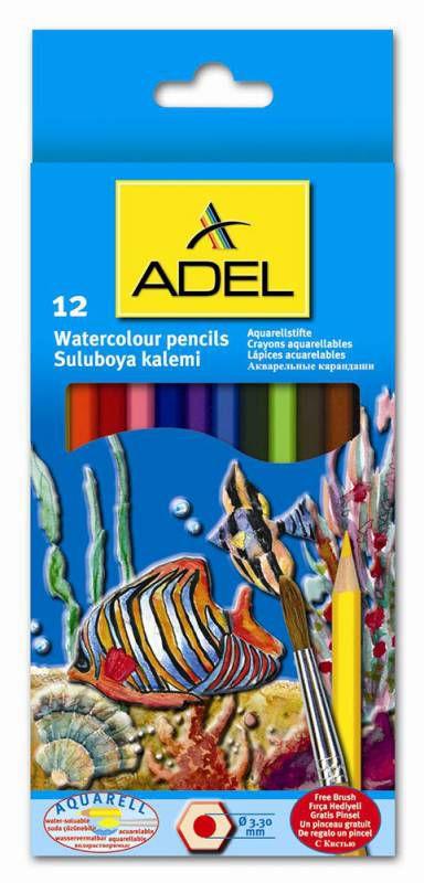 Карандаши цветные акварельные Adel Aquacolor 216-2610-000 3мм 12цв. кисточка коробка/европод.
