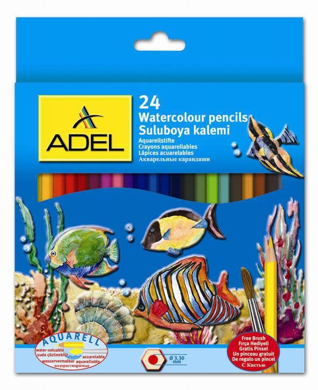 Карандаши цветные акварельные Adel Aquacolor 216-2660-000 3мм 24цв. кисточка коробка/европод.