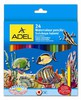 Карандаши цветные акварельные Adel Aquacolor 216-2660-000 3мм 24цв. кисточка коробка/европод. вид 1