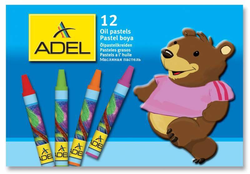 Мелки масляной пастели Adel Colour 228-0831-000 круглые 10мм 12цв. карт.коробка