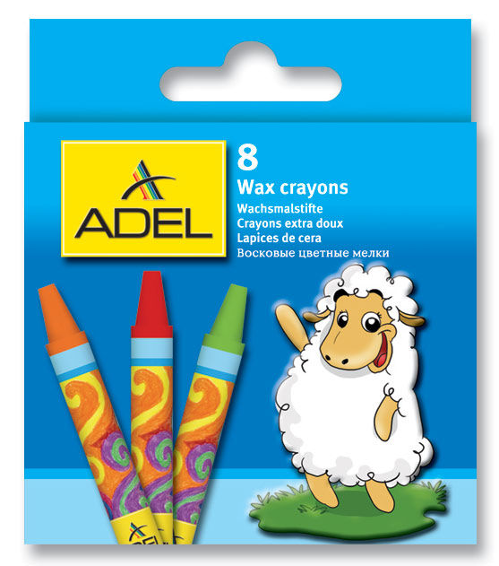 Мелки восковые Adel Colour 228-2814-000 круглые 10мм 8цв. коробка/европод.
