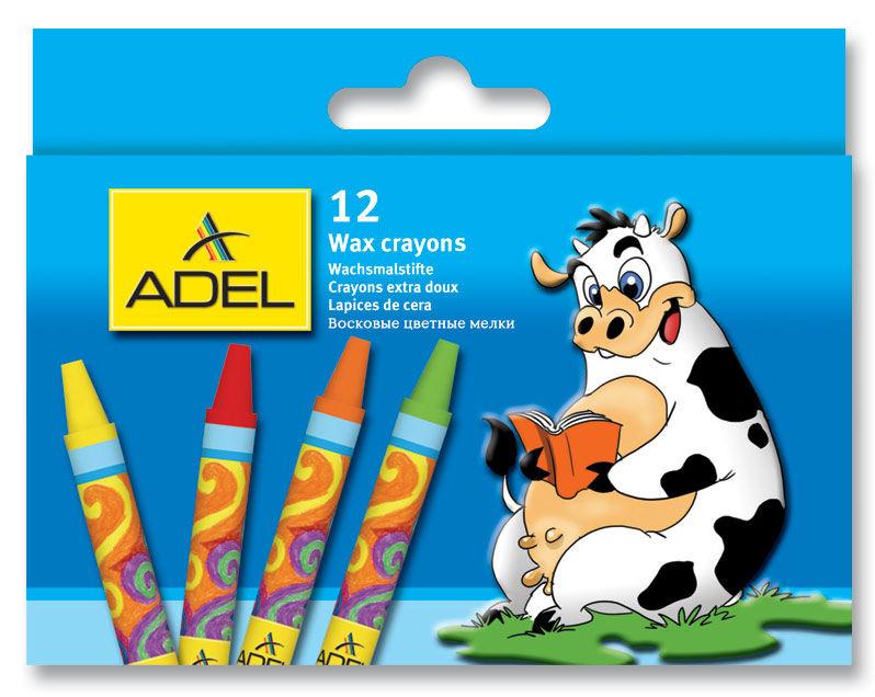 Восковые мелки Adel Colour 228-2834-000 круглые 12цв.д.10мм картон.кор./европод.