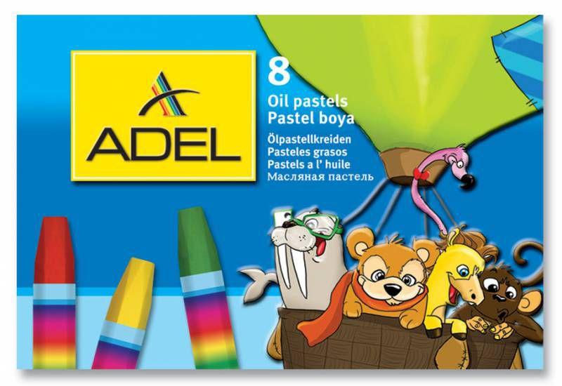 Мелки масляной пастели Adel Colour 428-0817-000 шестигранные 11.5мм 8цв. карт.коробка