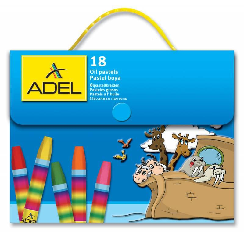 Масляная пастель Adel Colour 428-1818-000 шестигранные 18цв.д.11.5мм пласт.сум.