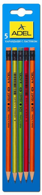 Карандаш чернографит. Adel VELVET 250-1124-005 HB ластик корпус ассорти (ж/зел/кр/ор) блистер (5шт)