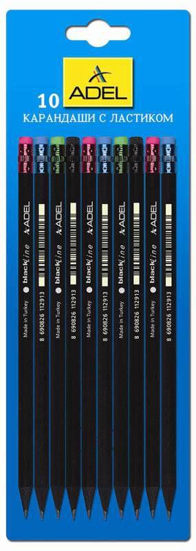 Карандаш чернографит. Adel BlackLine 250-1129-010 HB черное дерево ластик корпус черный блистер (10ш
