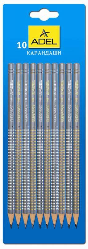 Карандаш чернографит. Adel ELEGANCE 250-1162-010 HB корпус серый металлик рисунок блистер (10шт)