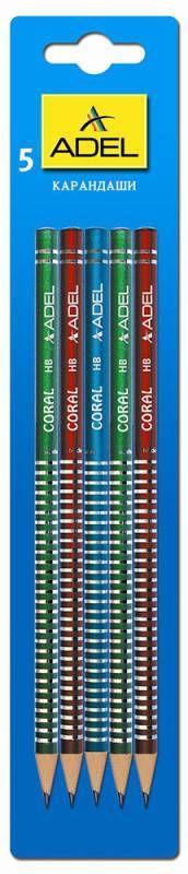 Карандаш чернографит. Adel CORAL 250-1163-005 HB корпус ассорти (кр/син/зел) рисунок блистер (5шт)