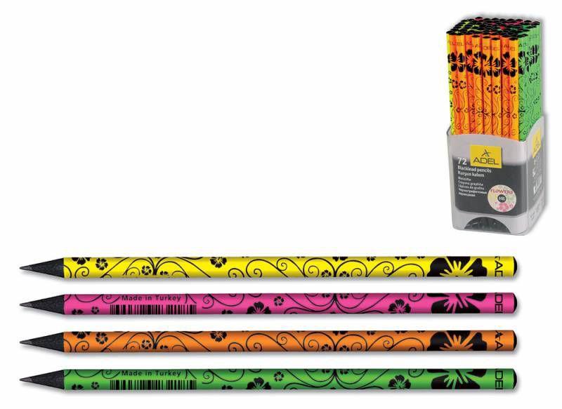 Карандаш чернографит. Adel BlackLine FLOWERS 209-1198-000 HB черное дерево корпус ассорти рисунок