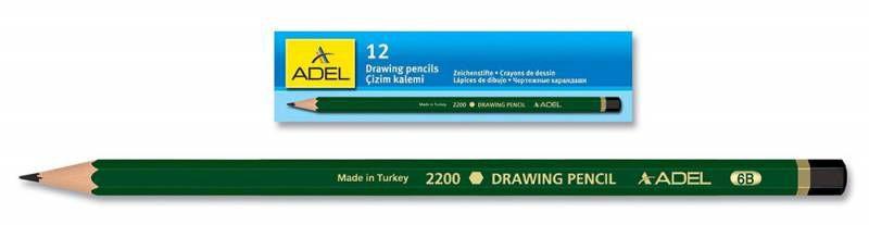 Карандаш чернографит. Adel DRAWING 210-2200-015 для технических и чертежных целей B