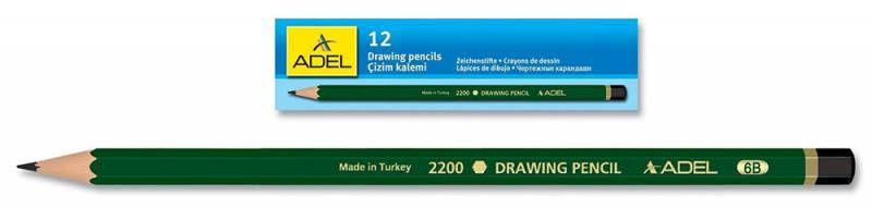 Карандаш чернографит. Adel DRAWING 210-2200-085 для технических и чертежных целей 8B