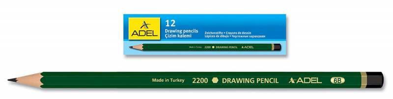 Карандаш чернографит. Adel DRAWING 210-2200-125 для технических и чертежных целей 2H