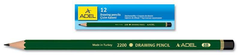 Карандаш чернографит. Adel DRAWING 210-2200-145 для технических и чертежных целей 4H