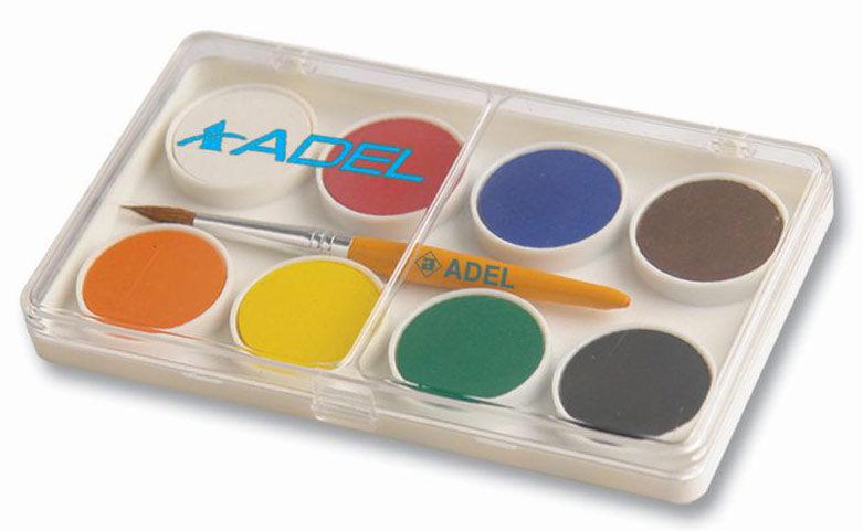 Краски акварельные Adel Colour 229-0911-000 сухие 8цв. 24мм кисть пл.кор.карт.супероб./европод.