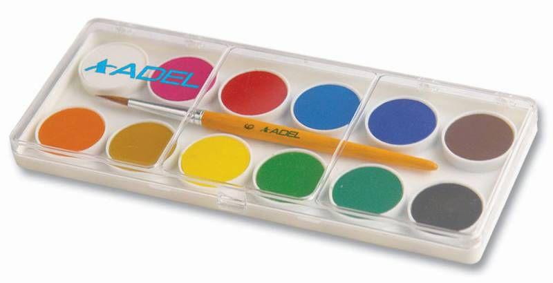 Краски акварельные Adel Colour 229-0921-000 сухие 12цв. 24мм кисть пл.кор.