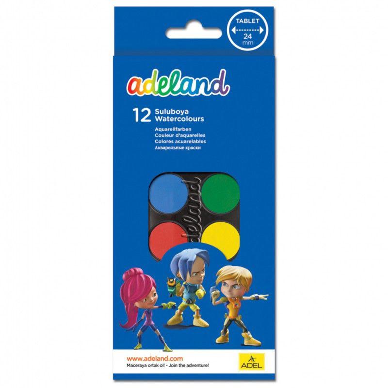 Краски акварельные Adel ADELAND 229-0933-100 24мм 12цв. кисточка пласт.коробка карт. суперобложка/ев