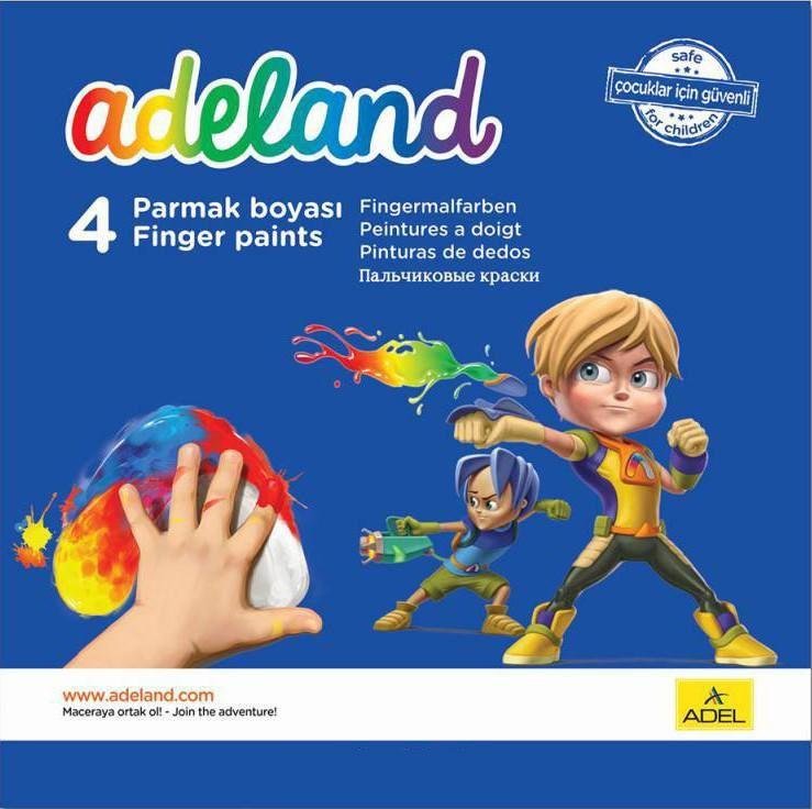 Краски для рисования пальцами Adel ADELAND 234-0630-100 4цв. 45мл. карт.супероб.