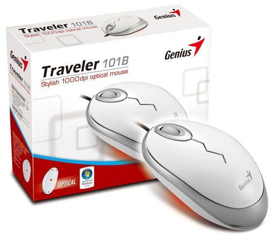 Мышь GENIUS Traveler 101B оптическая проводная USB, PS/2, белый [gm-traveler101b]