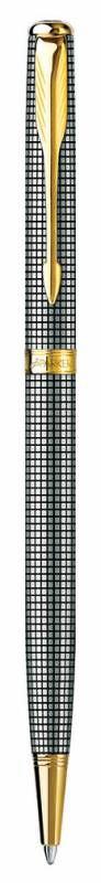 Ручка шариковая Parker Sonnet K434 Slim (S0808180) Cisele GT серебро 925 пробы 6.91г M черные чернил