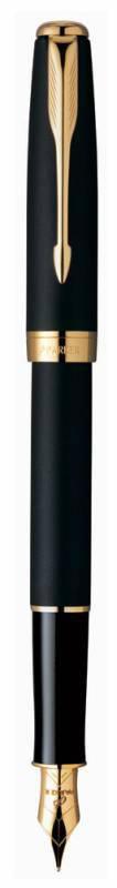 Ручка перьевая Parker Sonnet F528 (S0817930) Matte Black GT F сталь нержавеющая/позолота 23К подар.к