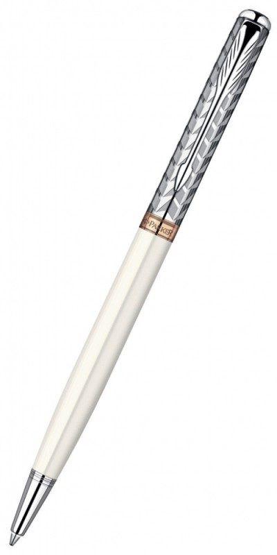Ручка шариковая Parker Sonnet Slim K440 (S0947350) Metal&Pearl PGT CT M черные чернила подар.кор.