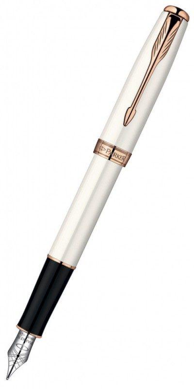 Ручка перьевая Parker Sonnet F540 (S0947360) Pearl PGT F золото 18K с родиевым покрытием подар.кор.