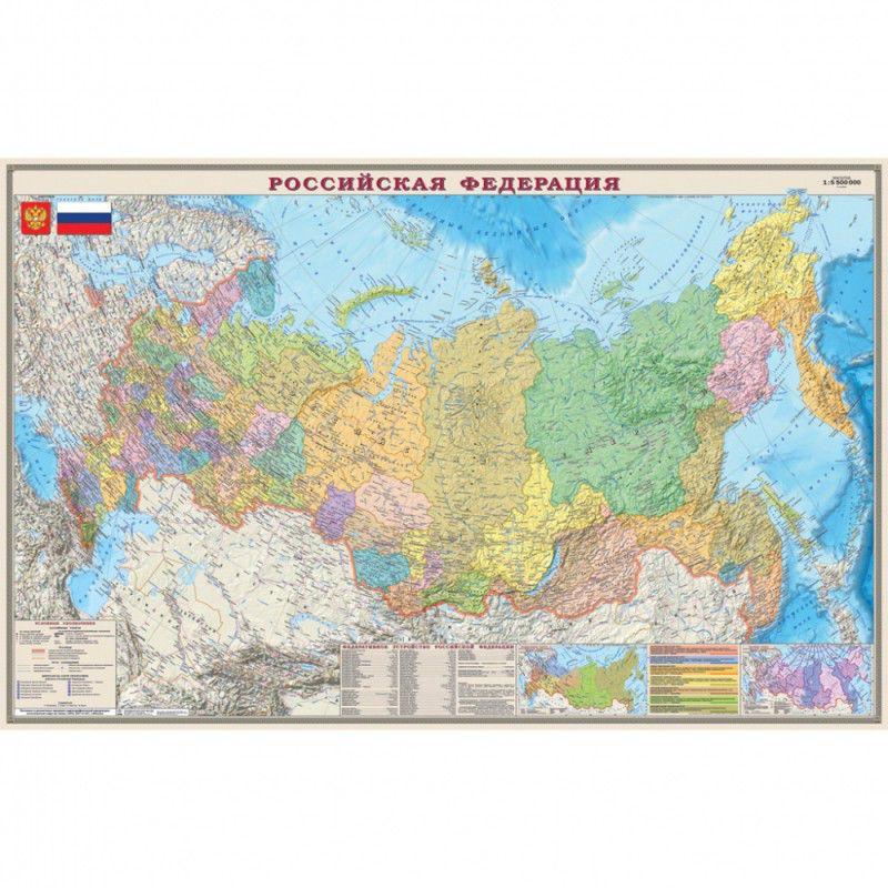 Настольное покрытие Бюрократ Карта РФ политическая (-BDM2100P) 37.5x58см рисунок