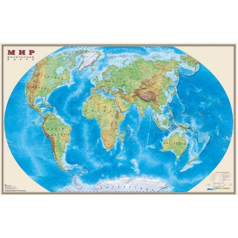 Настольное покрытие Бюрократ Карта Мира физическая (-BDM2103F) 37.5x58см рисунок