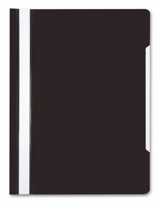 Папка-скоросшиватель Бюрократ -PS20BLCK A4 прозрач.верх.лист пластик черный 0.12/0.16