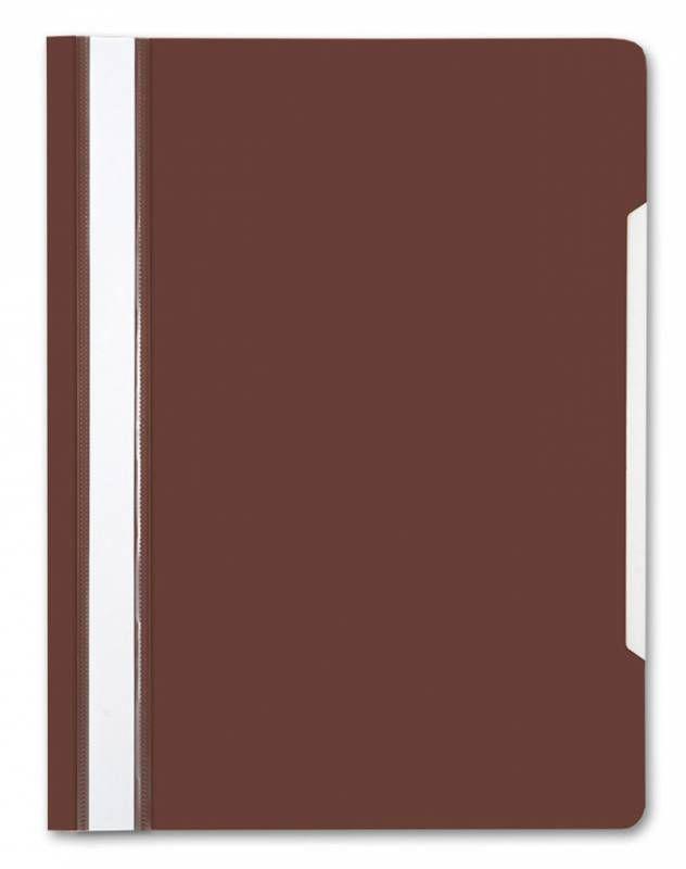 Папка-скоросшиватель Бюрократ -PS20BROWN A4 прозрач.верх.лист пластик коричневый 0.12/0.16