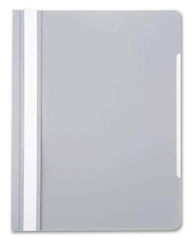Папка-скоросшиватель Бюрократ -PS20GREY A4 прозрач.верх.лист пластик серый 0.12/0.16
