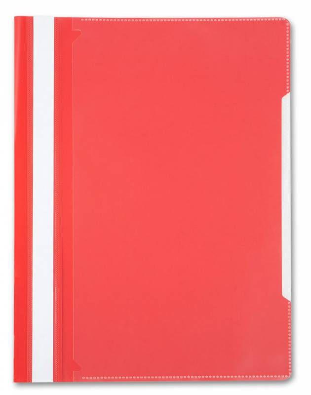 Папка-скоросшиватель Бюрократ -PS20RED A4 прозрач.верх.лист пластик красный 0.12/0.16