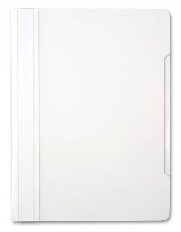 Папка-скоросшиватель Бюрократ -PS20WH A4 прозрач.верх.лист пластик белый 0.12/0.16