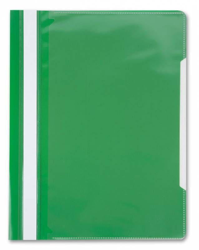Папка-скоросшиватель Бюрократ -PS-K20GRN A4 прозрач.верх.лист карм.на лиц.стор. пластик зеленый