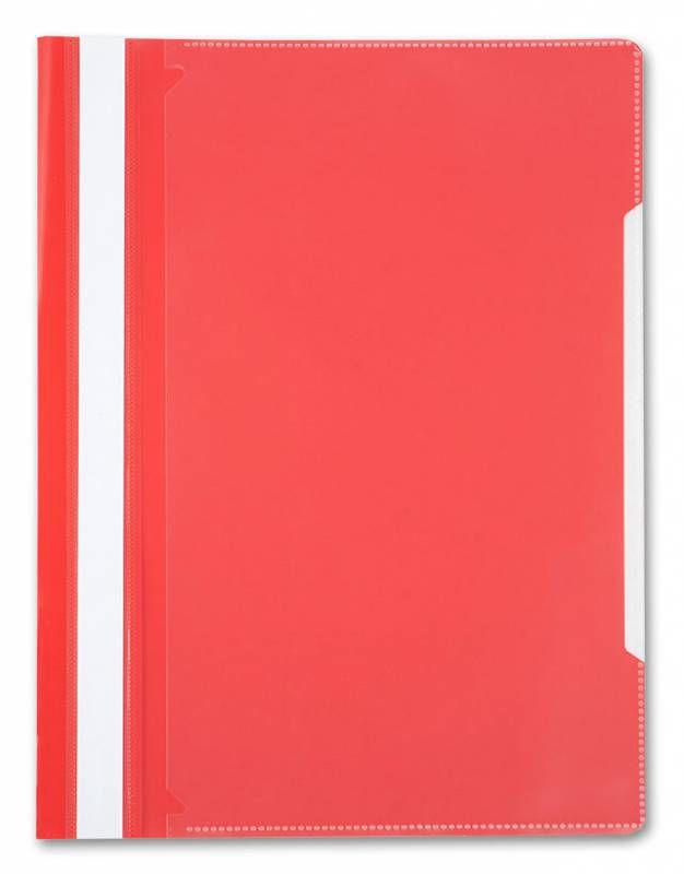 Папка-скоросшиватель Бюрократ -PS-K20RED A4 прозрач.верх.лист карм.на лиц.стор. пластик красный