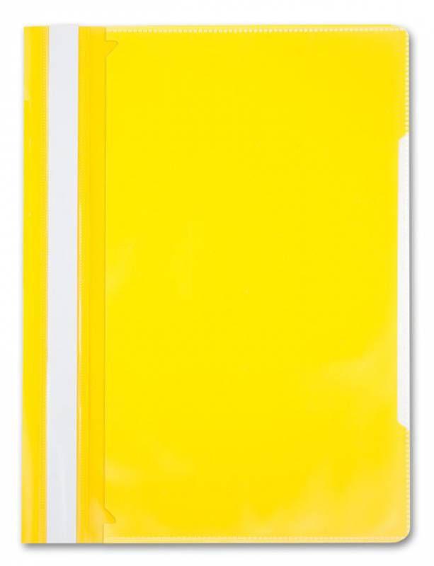 Папка-скоросшиватель Бюрократ -PS-K20YEL A4 прозрач.верх.лист карм.на лиц.стор. пластик желтый 0.12/
