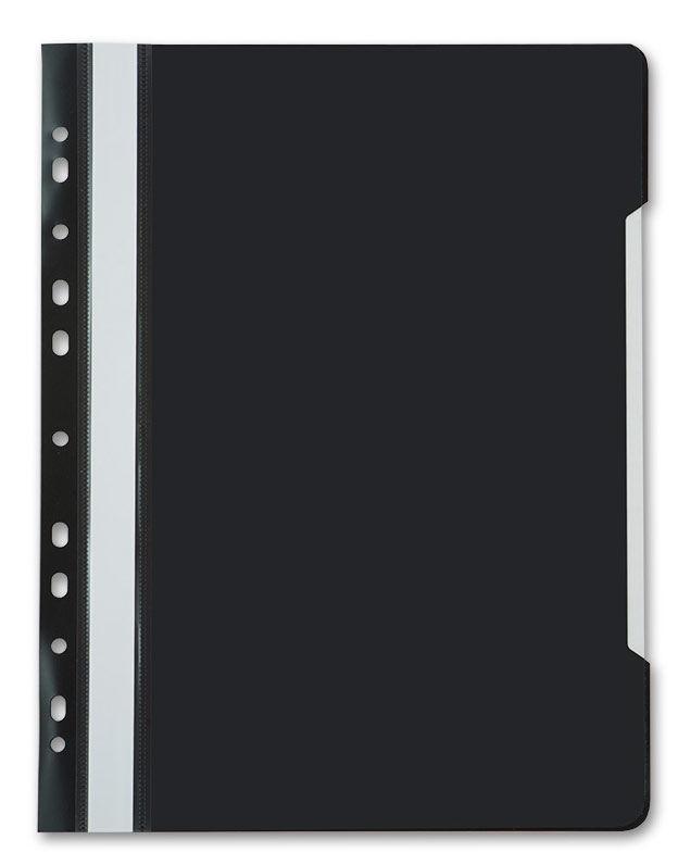 Папка-скоросшиватель Бюрократ -PS-P20BLCK A4 прозрач.верх.лист боков.перф. пластик черный 0.12/0.16