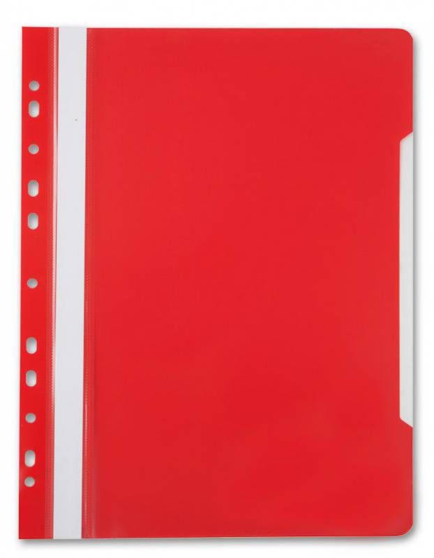 Папка-скоросшиватель Бюрократ -PS-P20RED A4 прозрач.верх.лист боков.перф. пластик красный 0.12/0.16